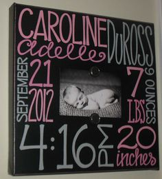 Baby Girl Birth Information Canvas Frame 14x14 via Etsy