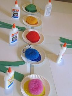 We have these scrubbers (Target dollar bin...all the colors come in one pack!). Activity based on Planting the Rainbow by Lois Ehlert from Teach Preschool  Fab for Spring/mixing in with my Movement to Music!!