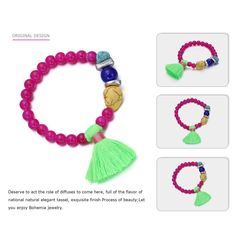 """eManco """"Colorful Life"""" Beaded Tassel Stretch Bangle Bracelet for Women Jewelry with Gift Box *** Continue to the product at the image link. (This is an affiliate link) #JewelryDesign"""
