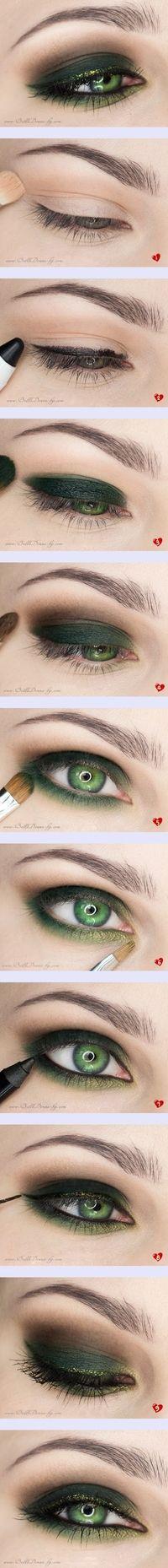 paso a paso maquillaje verde oscuro