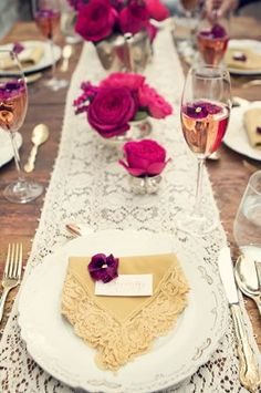 Vintage lace table runner {Photo: Petal Floral Design via Project Wedding}