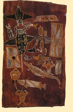 Australia - Aboriginal Bark Painting...Totemic creatures, eastern Arhnem Land. Animals include the devil ray, goanna and octopus.