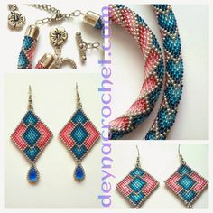 Crochet necklace with pattern Bead Crochet Patterns, Bead Crochet Rope, Seed Bead Patterns, Beading Patterns, Beaded Crochet, Beadwork Designs, Peyote Beading, Beading Projects, Bead Weaving