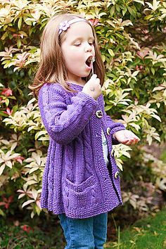 """Lavanda is my third design in the """"Spice Girls"""" series. It started as a request by a very dear and special friend, Monika. Kids Knitting Patterns, Christmas Knitting Patterns, Knitting For Kids, Baby Knitting, Knit Cardigan Pattern, Baby Cardigan, Girls Sweaters, Baby Sweaters, Cardigans"""