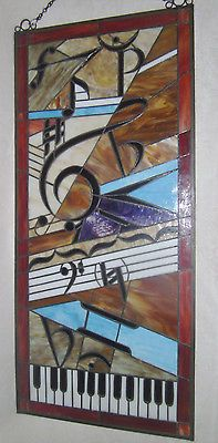 STAINED GLASS ART PANEL MUSIC MUSICAL KEYBOARD CLEF NOTES NOTE WINDOW WALL HANG