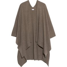 Vince Cashmere poncho (2.530 RON) ❤ liked on Polyvore featuring outerwear, sweaters, neutrals, brown poncho, vince poncho, cashmere poncho, long poncho and travel poncho