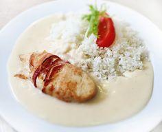 Denné menu Vranov   Kurací plátok ovinutý slaninkou s bešamelovým prelivom, dusená ryža - reštaurácia Hotel Patriot*** #hotel #restauracia #dennemenu
