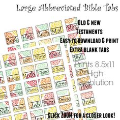 large print abbreviation printable bible tabs by thesimplebin newbibletabs spiritual enlightenment large prints
