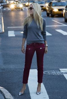 Maroon and grey...