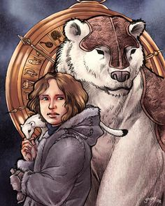 Lyra Belacqua, Pantalaimon, and Iorek Byrnison (The Golden Compass). I thnk she has the guts to buddy up with Arya Stark, don't you? Steampunk Illustration, Love Illustration, Golden Compass Movie, Iorek Byrnison, Lyra Belacqua, His Dark Materials Trilogy, Fictional Heroes, Fictional Characters, Dragon Images