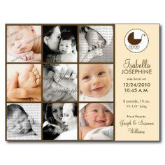 Photo Collage Peach Baby Birth Announcement Postcards