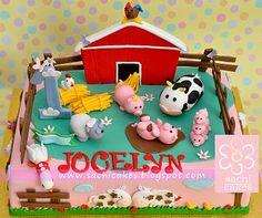 Farm Birthday Theme: Barnyard Cake (inc. pigs, cows, sheep, horses, ducks)