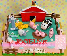 Farm Birthday Theme: Barnyard Cake (inc. pigs, cows, sheep, horses, ducks)