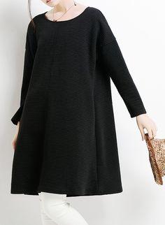 Plus size women clothing. black cotton spring dresses plus size women shirt blouse top pullover