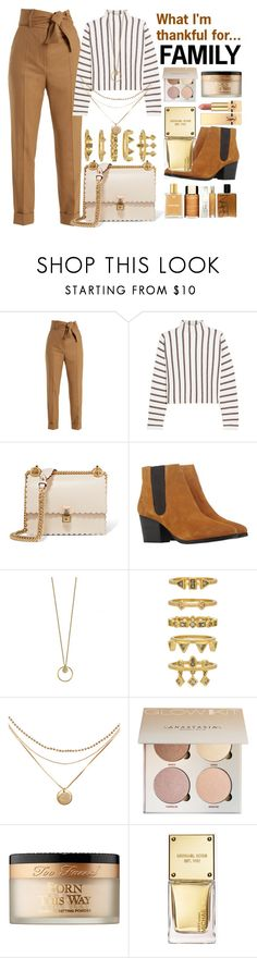 """What I'm thankful for...FAMILY"" by nothing-better-than-a-riddle ❤ liked on Polyvore featuring Sara Battaglia, Maje, Fendi, Bruno Premi, Luv Aj, Too Faced Cosmetics, Michael Kors and Yves Saint Laurent"