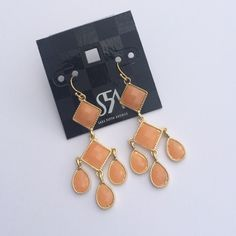 "NWT Saks Fifth Avenue Peach Chandelier Earrings Gold tone, approximately 2"" drop. Stunning. Also in green. Discount with bundle. Saks Fifth Avenue Jewelry Earrings"