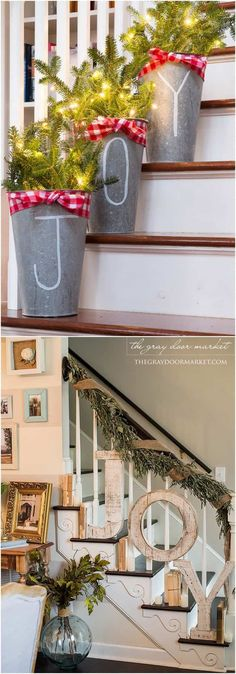 Christmas staircase: 100 Favorite Christmas decorating ideas & DIY Christmas decorations for every room from the best Christmas home tours! Lots of great tips to apply to your own home easily! A Piece of Rainbow Christmas staircase: Diy Christmas Decorations, Diy Christmas Gifts, Christmas Projects, All Things Christmas, Christmas Home, Holiday Crafts, Christmas Holidays, Christmas Ideas, Christmas Staircase Decor