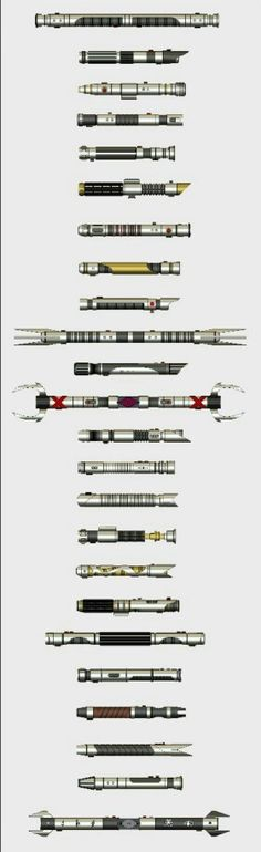 A bunch of lightsaber hilt artwork