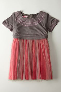 Printed Frill Mock Knit Top Tulle Dress - this is so adorable for a little girl