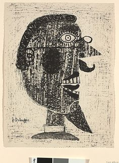 """""""Bearded Man Wearing Spectacles"""" by Jean Dubuffet, 1944; lithograph"""