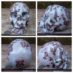 "Huge 5.0"" 2.8 Pounds 1283g Chinese Painting Stone Skull Crystal Healing Shrine Altar SK1283"