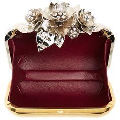 Jimmy Choo 'Cloud' Metal Flower Clutch ($3,995) ❤ liked on Polyvore featuring bags, handbags, clutches, jimmy choo handbag, shopping bag, metallic purse, red purse and chain purse