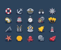 Free Sea Elements Icons (Ai, Eps) (1 MB) | iconstore.co | #free #vector