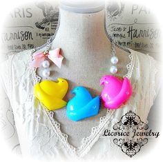 PEEPs Parade Marshmallow Statement Necklace by LicoriceJewelry, $31.00