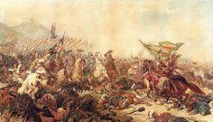 Jan Sobieski is presented with the captured Ottoman battle standard, at the Siege of Vienna, 1683. Sobieski's mostly Polish army defeated the massive Ottoman army that had been besieging Vienna. Painting, Sobieski at Vienna by Juliusz Kossak.
