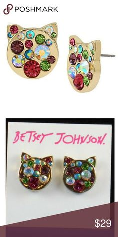 0f3536306 Betsey Johnson JUST KITTEN AROUND Cat Earrings Brand new with tags. Betsey  Johnson Jewelry Earrings