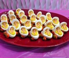 Deviled eggs for baby shower Baby Shower Food Menu, Baby Shower Appetizers, Baby Shower Finger Foods, Idee Baby Shower, Baby Shower Fruit, Baby Shower Snacks, Shower Bebe, Baby Shower Favors, Shower Party