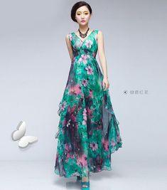 Free shipping 2013 fashion bohemia flowers tank chiffon long dress green floral aline dress bohemian boho beach wedding by chinesehut 16900 fandeluxe Images
