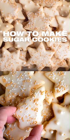 How to make Sugar cookies - Homemade easy sugar cookies with quick icing recipe. Perfect Christmas cookies for your family and friends. holiday edible gifts, sweet treats, dessert, DIY with detailed i Easy Christmas Cookie Recipes, Christmas Sugar Cookies, Christmas Snacks, Easy Cookie Recipes, Christmas Cooking, Holiday Cookies, Holiday Baking, Christmas Desserts, Holiday Recipes