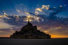 Le Mont Saint-Michel by Lari Huttunen on Mont Saint Michel, France, Old Photos, Statue Of Liberty, The Good Place, Saints, Clouds, Nice, Places