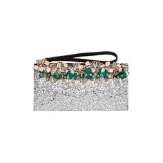 Marni Embellished Glitter Leather Clutch (3.405 RON) ❤ liked on Polyvore featuring bags, handbags, clutches, grey, marni handbag, leather handbags, grey purse, gray leather handbag and glitter purse