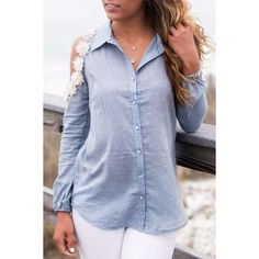 Charming Flower Decoration Button Down Blouse ($14) ❤ liked on Polyvore featuring tops, blouses, light blue, embellished blouse, cut out long sleeve top, cutout top, button up blouse and blue button up blouse