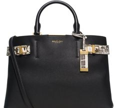 Love this  Bette Large Leather  amp  Python Satchel  Lyst Michael Kors Black , a7a8eadc91