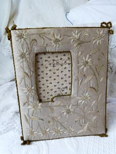 Antique French frame, silk embroidery frame, hand embroidered silk picture frame w edelweiss, handmade boudoir wall hanging decor France