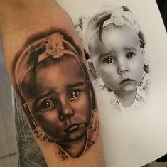 Baby Portrait Tattoo Realism Portrait Tattoos, Baby Tattoos, Baby Portraits, Tattoo Artists, Instagram Posts