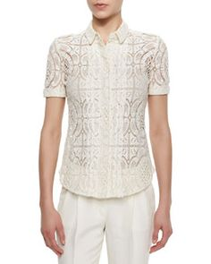 B2WEP Burberry London Short-Sleeve Lace Button Blouse, Parchment