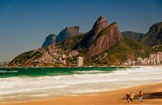 Ipanema beach - Rio de Janeiro, and the classic view or 2 brothers mountain and Gavea's rock mountain.