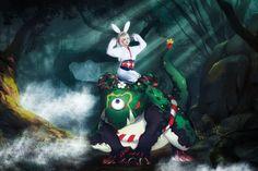 キャラ:山兎 cn:小七- 「止まって、止まって、、、」と叫びます。 多彩のスキンがあり、すごく可愛いウサギですよ。
