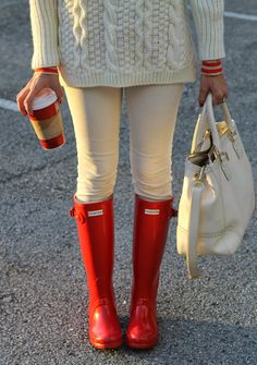 White Cable Knit Sweater + Cream Skinny Jeans + White Tote + Red Galoshes