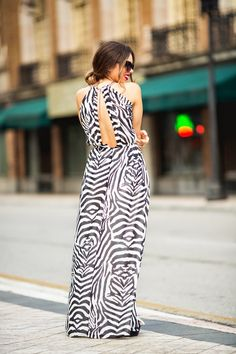 "Daniela Ramirez of the blog ""Nany's Klozet"" in a zebra print maxi dress from our By Night collection. #PartyInHM"