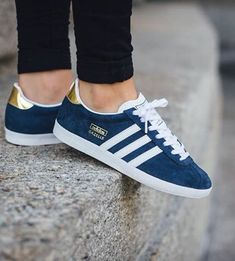 adidas Originals Gazelle OG: Indigo/Gold