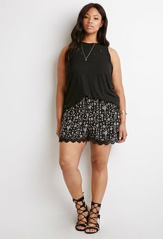 Plus Size Crocheted Diamond Print Shorts