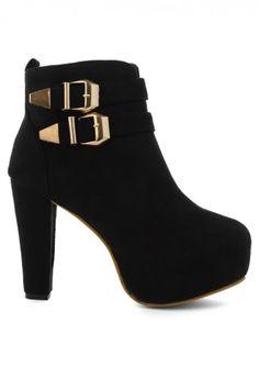 Buckled Platform Heeled Ankle Boots