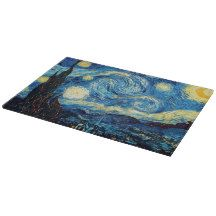 Starry night glass cutting board