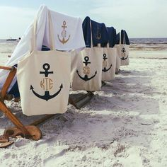 Monogrammed Anchor Totes and towels for a bachelorette beach getaway!