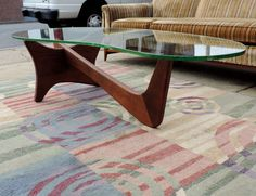 COFFEE TABLE 1950'S GLASS & WALNUT FINISH MID CENTURY MODERN